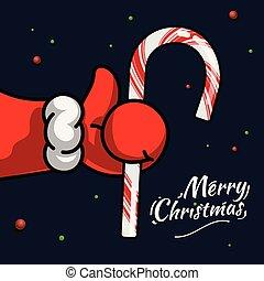 拇指, 符號, illustration., 圣誕節。, 矢量, 藤條, 相象, 新, 圖象, 聖誕老人的, 向上, 聖誕節, 糖果, 黨, 克勞斯, year., 手