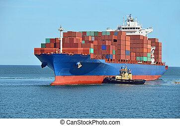 拖輪, 協助, 集裝箱船, 貨物