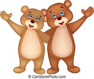 招手, 夫婦, 卡通, 熊, 手