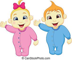 招手, 男孩, 女孩, 嬰兒手