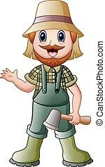 招手, lumberjack, 卡通, 藏品, 斧子