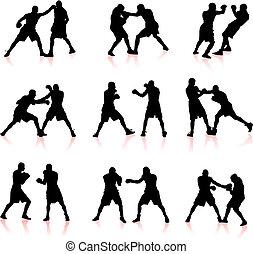 拳擊, 黑色半面畫像, 彙整, 背景