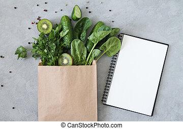 拷貝紙, 空間, 綠色的頂部, 空白, 看法, 健康, 雜貨, 購物, 筆記本, 袋子, 食物