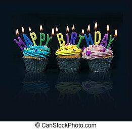 拼寫, cupcakes, 在外, 生日, 愉快