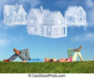 拼貼藝術, 夫婦, 三, 房子, 躺, 草, 夢想, 雲