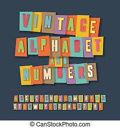 拼貼藝術, 葡萄酒, 紙, 數字, 工藝, 設計, 字母表