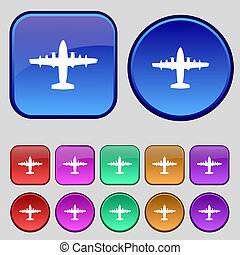 按鈕, 你, 飛机, 集合, 圖象, 十二, 徵候。, 葡萄酒, design.