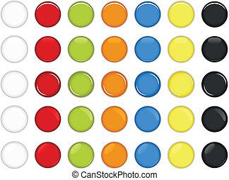 按鈕, 有光澤, 鮮艷, 輪