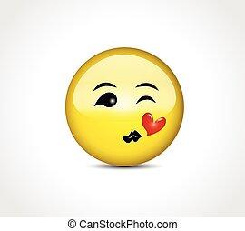 按鈕, 親吻, 微笑, 心, 愛, emoticon, 高興的表面