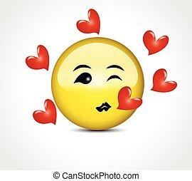 按鈕, 親吻, 微笑, 愛心, emoticon, 高興的表面