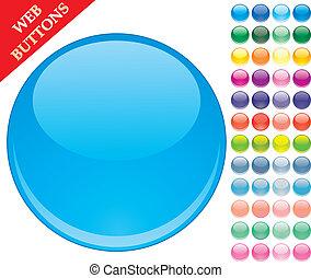 按鈕, 集合, 上色, 球, 49, 圖象, 插圖, 玻璃, 矢量, 有光澤, 网