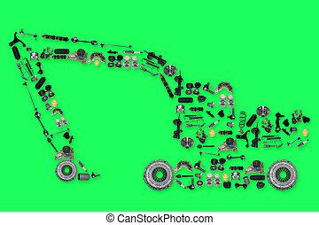 挖掘機, 形式, 很多, 被隔离, 部分, 綠色的背景, 新, 備用
