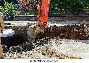 挖掘機, 移動, sandpit, works., 在期間, 地球