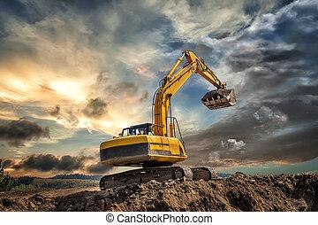 挖掘機, 站點, 建設, 傍晚, 在期間, 工作, earthmoving, 爬行動物