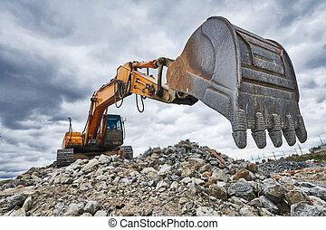 挖掘機, 站點, loader, 機器, 建設, 爆破