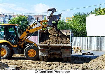 挖掘機, 黃色, sandpit, 在期間, 工作, earthmoving