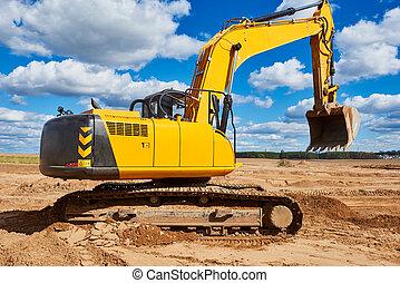 挖掘機, sandpit, loader, 在期間, 工作, earthmoving