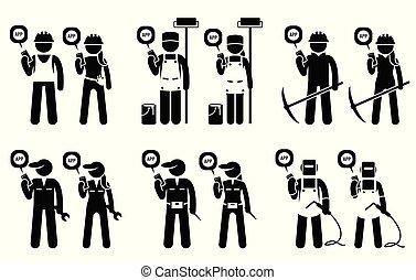 採礦, 流動, 建設, 工人, jobs., 他們, 建造者, 使用, 工業, app