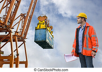 控制, 港口, 商業, 檢查, 海關