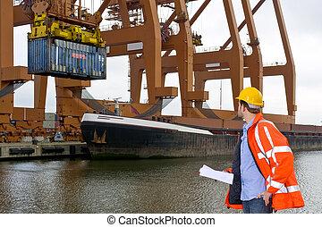 控制, 港口, 工業, 海關