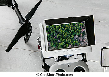 控制, monitor., 傳送者, 概念, 航空的攝影術, -, 雄峰, 收音机