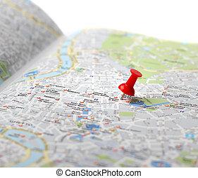 推, 地圖, 旅行目的地, 別針