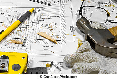 措施, 圖, 看見, 不同, 忙, 磁帶, 螺絲, tools:, 愛好, 鉛筆, 保護, workbench., 在上, 木匠, ruller, 灰塵, 向前, 藍圖, grasses., 手套, 蜂鳴器, 躺