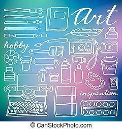 提供, set., 矢量, 藝術, 插圖