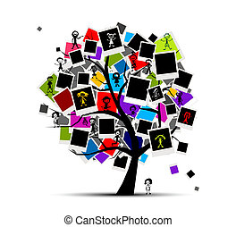 插入, 圖片, 記憶, 樹, 你, 照片框架, 設計