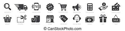 插圖, 在網上, 付款, 集合, 購物, 元素, 矢量, 圖象