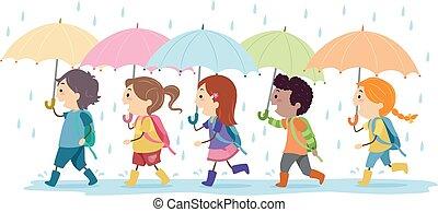 插圖, 孩子, 雨, 步行, 傘, stickman