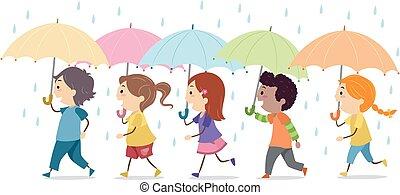插圖, 孩子, stickman, 雨, 傘