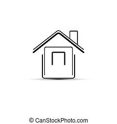 插圖, 房子圖標, 矢量, 摘要