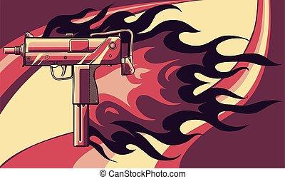 插圖, 槍, uzi, 火焰, 矢量