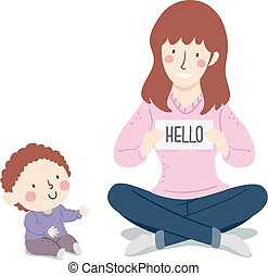 插圖, 男孩, 媽媽, 詞, 嬰孩, flashcards, 孩子