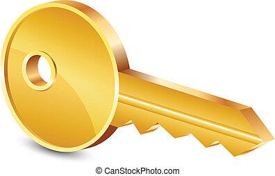 插圖, 矢量, 金子鑰匙