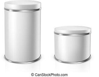 插圖, 矢量, 錫, cans.