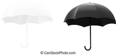 插圖, 矢量, 黑色的傘, 白色