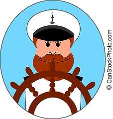 插圖, 背景。, 矢量, 白色, 上尉, 船