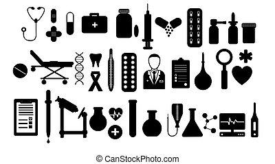 插圖, 背景。, 醫生, 醫學, 矢量, 集合, 注射器, 白色, 簡單, 主題, 溫度計, 藥丸, 藥物處理, 大, 項目, 燒瓶, 工具