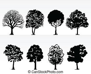 插圖, 背景。, 黑色半面畫像, 矢量, 樹, 白色