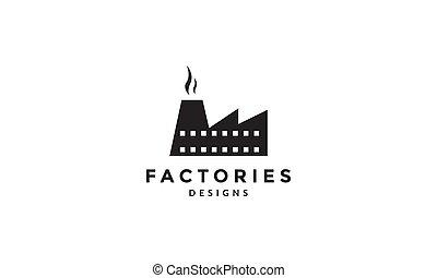 插圖, 設計, 工廠, 標識語, 簡單, 建築物, 圖象, 矢量, 黑色半面畫像