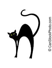 插圖, 貓, back., 矢量, 黑色, 彎曲, 有