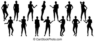 插圖, 運動, 集合, 黑色半面畫像, 女孩, 矢量