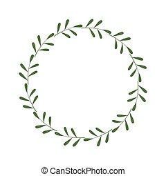 插圖, 邀請, 時髦, 矢量, leaves., 綠色, 樣板, 框架, greetings., border., 脫落, 設計, laconic, 輪, 標識語, wreath., 末梢, 最簡單派藝術家