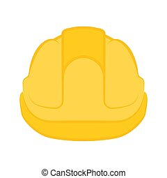 插圖, 鋼盔, 建設, 黃色, 被隔离, 矢量, icon.