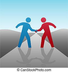 握手, 商業界人士, 一起, 進展, 合伙人