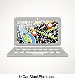 摘要, 插圖, 現代, 城市地圖, 膝上型