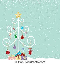 摘要, 樹, 聖誕節, 鮮艷
