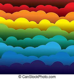 摘要, 橙, 顏色, 紙, (backdrop), 層, 包含, -, 黃色, graphic., 3d, 藍色, 鮮艷, 形成, 插圖, 背景, 使用, 紅色, 云霧, 相象, 這, 矢量, 綠色